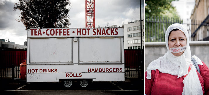 left: October 2011 // A food truck on a Friday before a weekly Saturday market.right:  September 2011 // A Yemeni woman stands outside 10 Downing stre