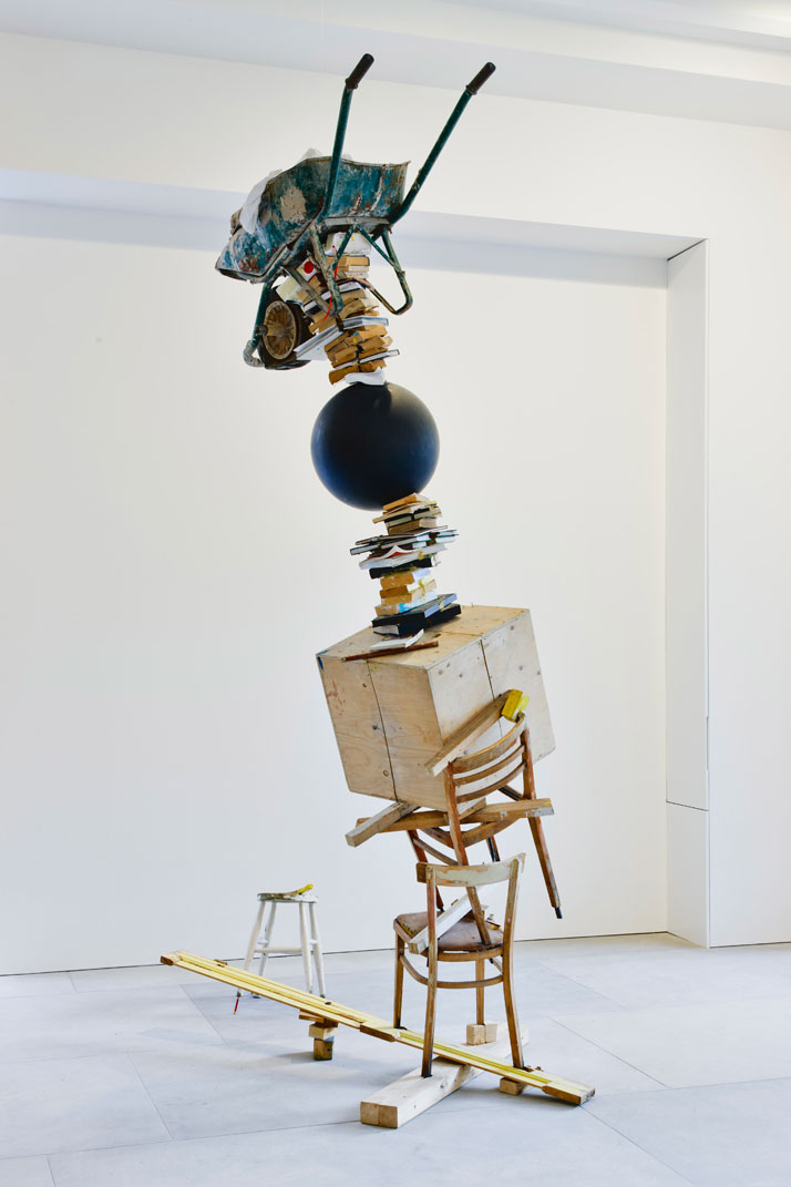 My Beautiful Mistake // 2012Wheelbarrow, two chairs, stool, books, tube of paint,pencil, wood, steel, aluminium, rubber, cotton sheetMain: 355.6 x 188