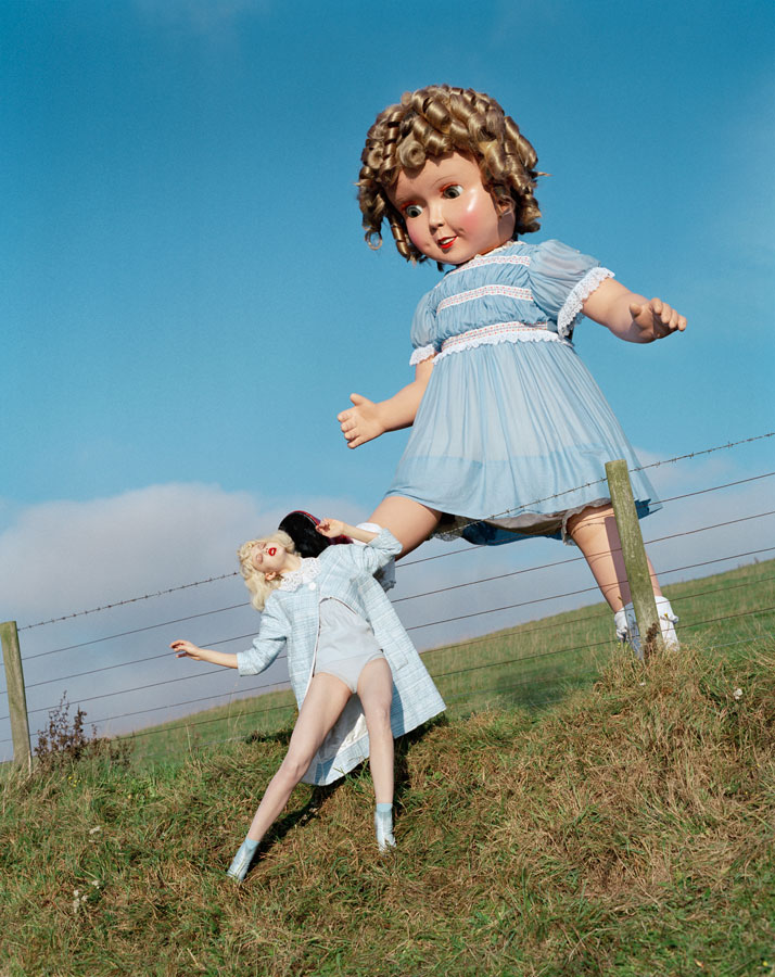 Giant doll kicks Lindsey Wixson Eglingham Hall, Northumberland, 2011photo © Tim Walker