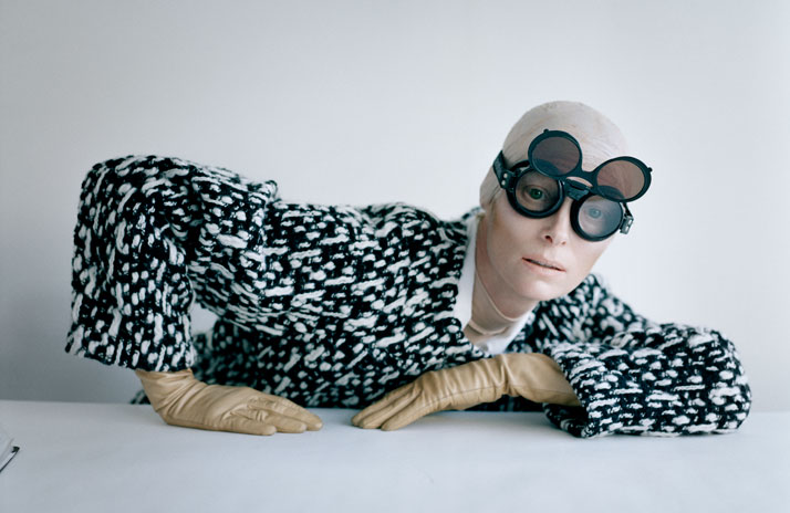 Tilda Swinton and aviator goggles,Reykjavik, Iceland, 2011photo © Tim Walker