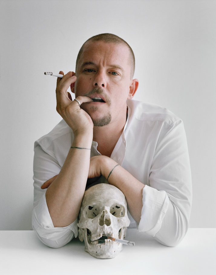 Alexander McQueen with skull and cigarettesClerkenwell, London, 2009photo © Tim Walker