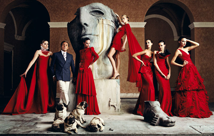 Valentino Garavani with models, 2007 photo © Lorenzo Agius