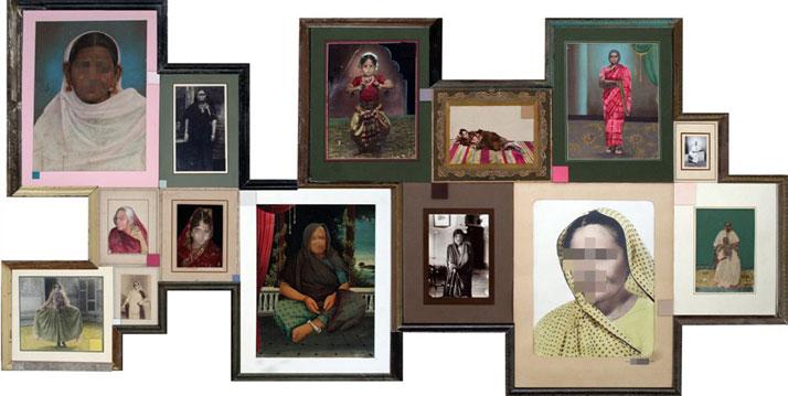 Nandan Ghiya / Female Indroid Album, 2012Acrylic on Photographs & Wooden FramesTaille : 122x126cm + 121x155cm (Diptych)photo © Galerie Paris-Beijing
