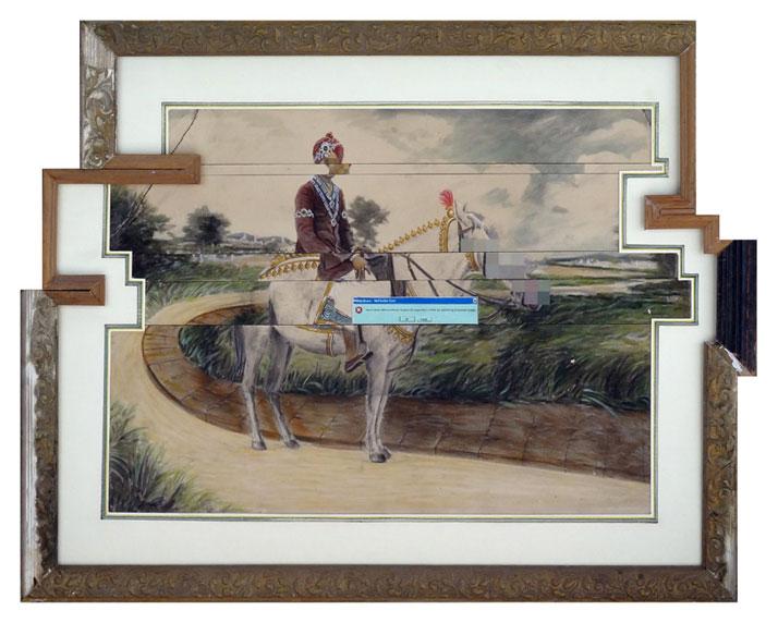 Nandan Ghiya #58, Download Error, 2011Acrylic on Photographs & Wooden FramesTaille : 57x74cmphoto © Galerie Paris-Beijing