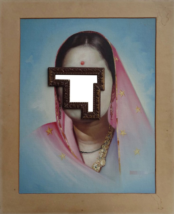 Nandan Ghiya Untitled, 2012Acrylic on Photographs & Wooden FramesTaille : 66x56cmphoto © Galerie Paris-Beijing