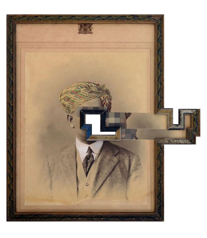 Nandan Ghiya / Varna-Sankara V1.3, 2012Acrylic on Photographs & Wooden FramesTaille : 66x62cmphoto © Galerie Paris-Beijing