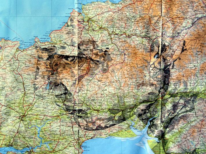 Pencil on original Bartholomew map of Pembroke, Wales, photo © Ed Fairburn