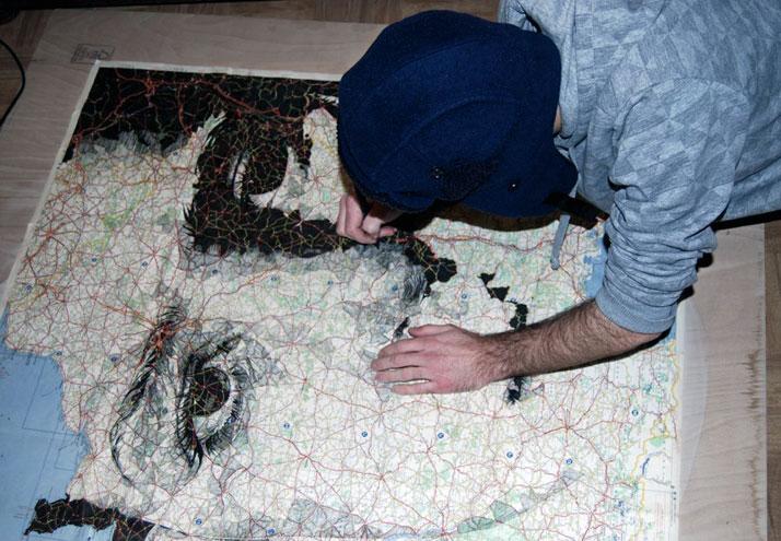 Work in progress - ink on an original Michelin map of France, photo © Ed Fairburn