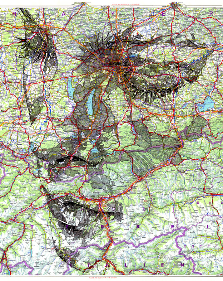 Ink on a 1977 road map of Germany, photo © Ed Fairburn
