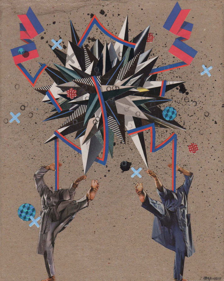 "Justin Angelos | Chucks | 2012 | Hand-cut collage on paper | 23 x 28cm / 9"" x 11"" (paper)Courtesy of the artist & CES Contemporary Gallery"