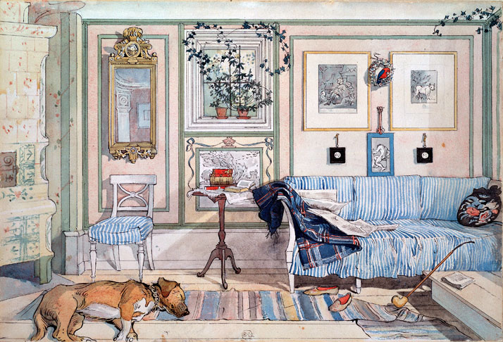 Lathörnan (Cosy Corner), 1894Painting by Carl Larsson from the collection of 26 watercolors in his 1899 picture book 'Ett Hem' (A Home).© Courtesy of