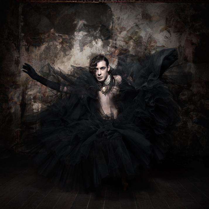 The black swanPearl Necklace: Pericles Kondylatos / Model: Dimitris Costantine (VN Models) / Tule skirt worn as a cape: Kostadinos Melis by Laskos / G