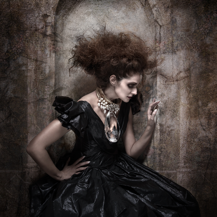 The evil queen close upPearl Necklace with big Crystal: Pericles  Kondylatos / Model: Vicky Koulianou / Dress: Kostadinos Melis by Laskos /  Make-up: Yiannis Marketakis - Make-up lab / Hair: Nicolas Balalios /  Photo: Sylwia Makris / Styling: Pericles Kondylatos