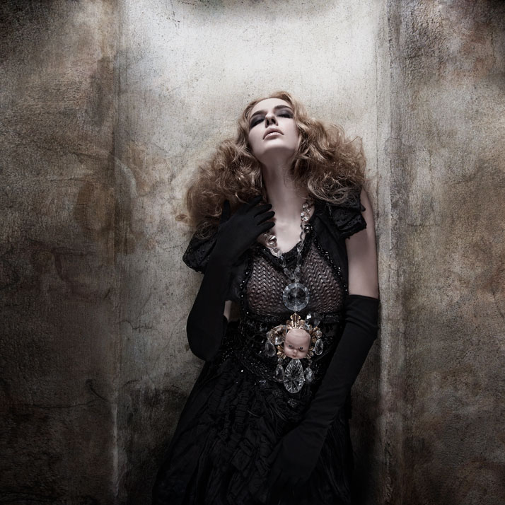 The enchanted princessBaby   chandelier Necklace: Pericles Kondylatos / Model: Margarita Papandreou   (VN Models) / Dress: Celebrity Skin / Belt: Cele
