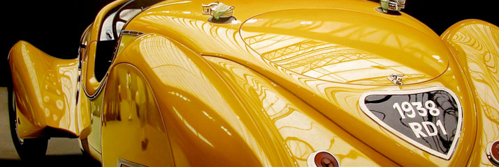 "Yellow Delahaye, 2011, oil on aluminum panel, 16 x 48""   © Cheryl Kelley, Courtesy of Bernarducci Meisel Gallery"