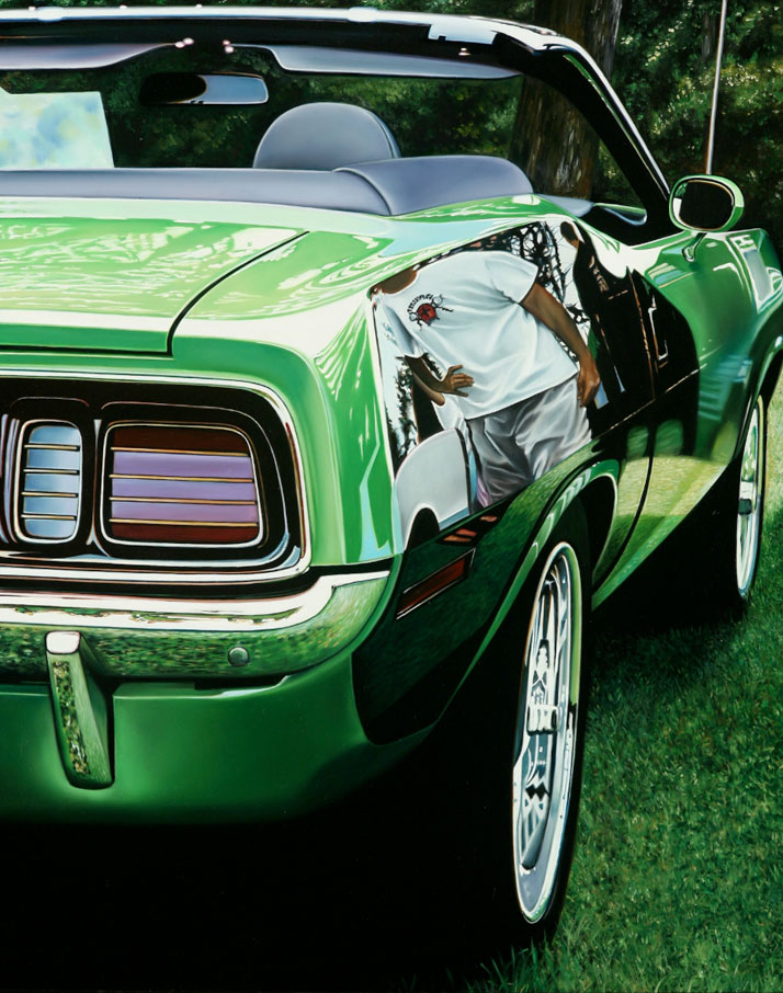"Green Hemi Cuda, 2012, oil on aluminum panel, 30 x 24""   © Cheryl Kelley, Courtesy of Bernarducci Meisel Gallery"