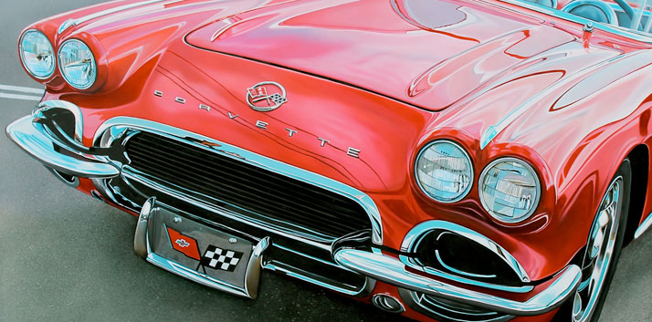 "Red Corvette, 2013, oil on aluminum panel, 18 x 35""   © Cheryl Kelley, Courtesy of Bernarducci Meisel Gallery"