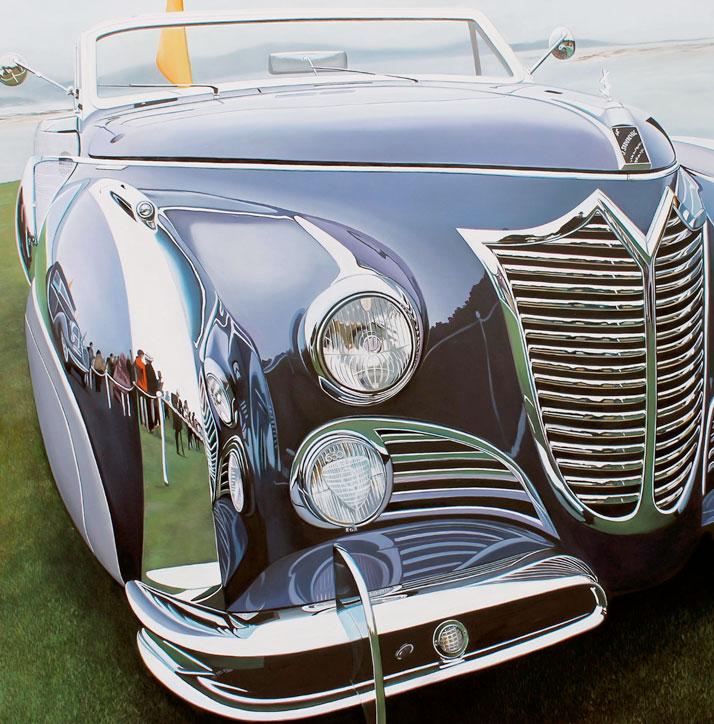 "Purple Cadillac, 2013, oil on aluminum panel, 30 x 30.5""  © Cheryl Kelley, Courtesy of Bernarducci Meisel Gallery"