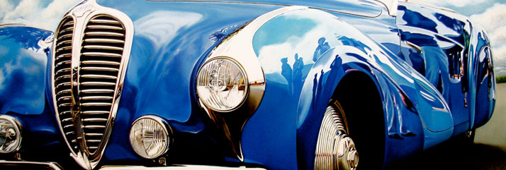 "Blue Delahaye, 2011, oil on aluminum panel, 16 x 48"" © Cheryl Kelley, Courtesy of Bernarducci Meisel Gallery"