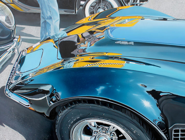 "Corvette with Big Yellow Taxi, 2013, oil on aluminum panel ,18 x 24""© Cheryl Kelley, Courtesy of Bernarducci Meisel Gallery"