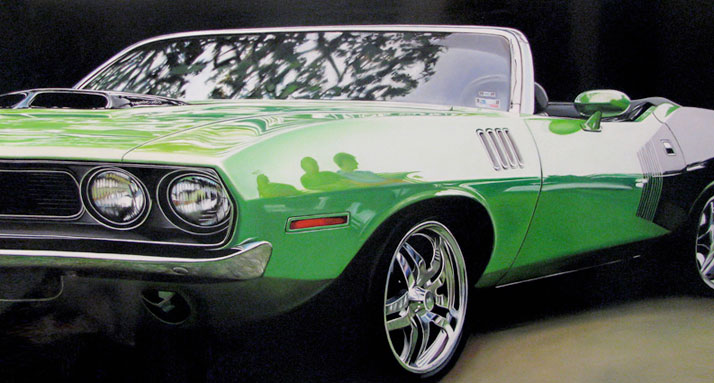 Hemi Cuda, 2009, Oil on aluminum, 24 x 48 inches© Cheryl Kelley, Courtesy of Bernarducci Meisel Gallery