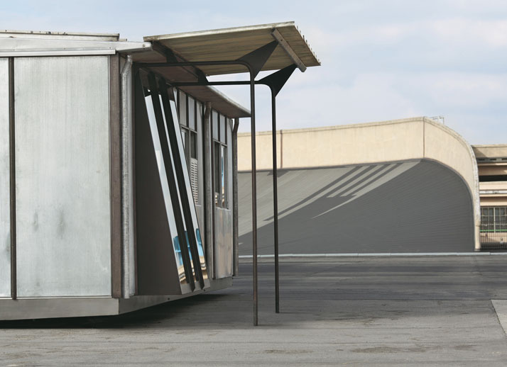 Metropole aluminum house, ca. 1949, metal aluminum and wood 8x12 m, 26,2x 39,4 feetrebuilt on the test track atop the Lingotto, Turin, Italyphoto Courtesy of Galerie Patrick Seguin