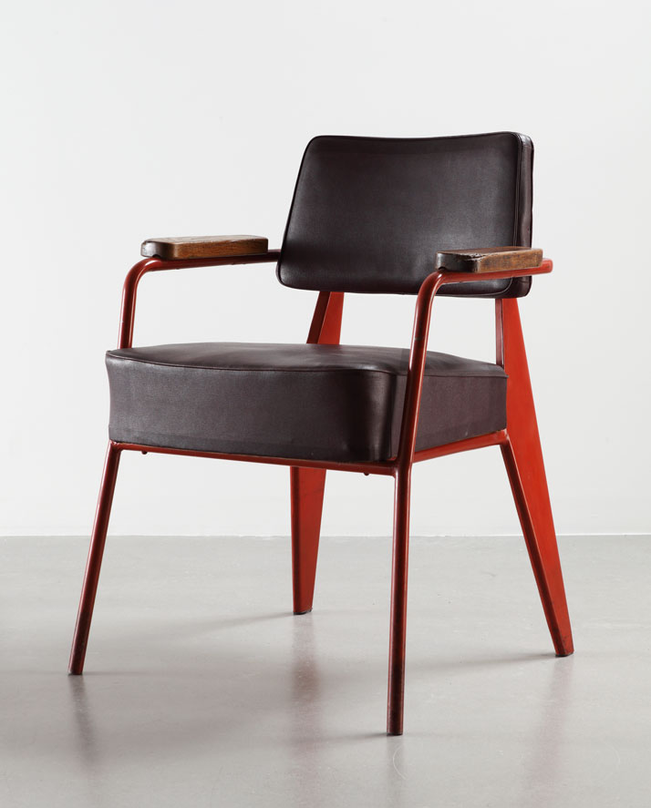 Direction N° 352 office chair, 1951Bent sheet steel, steel tube, leather and woodCollection Laurence and Patrick Seguin © Galerie Patrick Seguin