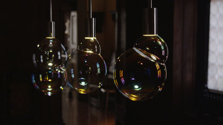 Surface Tension Lamp by Front Design for Booo Lab. Led Light Producing soap Bubbles. Photo by Tatiana Uzlova.