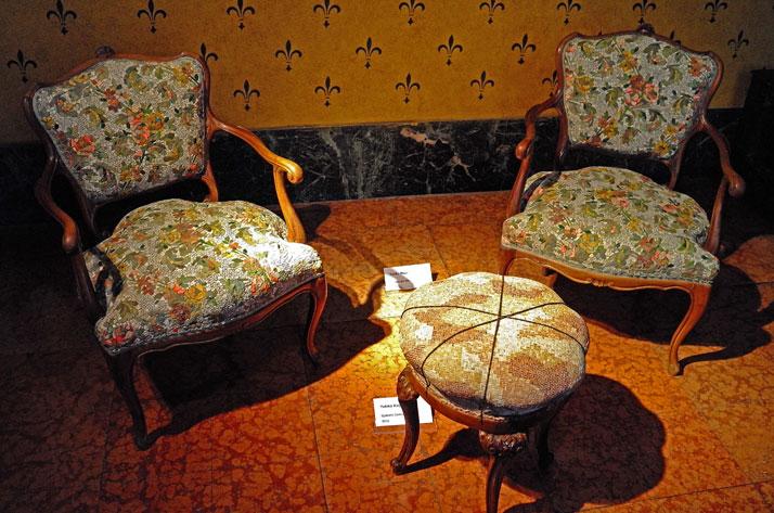 Twin Armchairs by Yukiko Nagai. Old armchair and mosaic seat and back. Photo by Tatiana Uzlova.