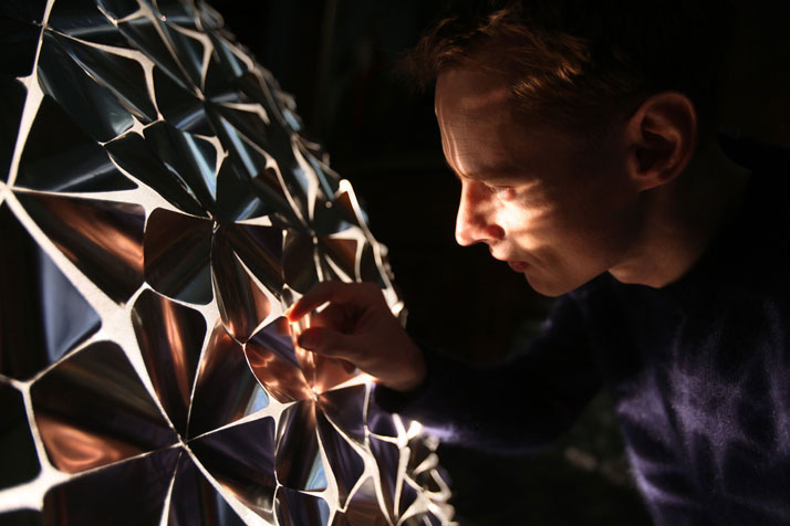 Portrait of Daan Roosegaarde in front of the Lotus Dome installation in the Sainte Marie Madeleine Church in Lille, France.