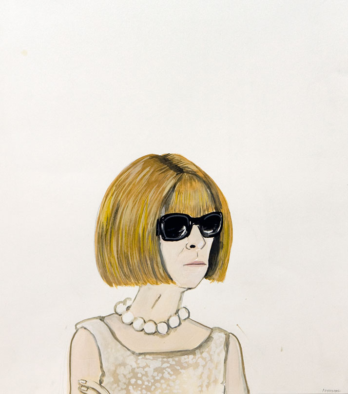 Konstantin Kakanias, 43 (ANNA WINTOUR WEARING GLASSES), 2012, gouache on paper, 56X33cm.Courtesy of Rebecca Camhi Gallery (Athens, Greece). Photo by Antonakis Christodoulou.