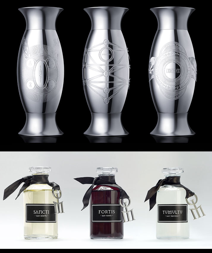 Sancti, Fortis and Tumultu from Les Liquides Imaginaires series of perfumes, photo © Heuduck / RESO.