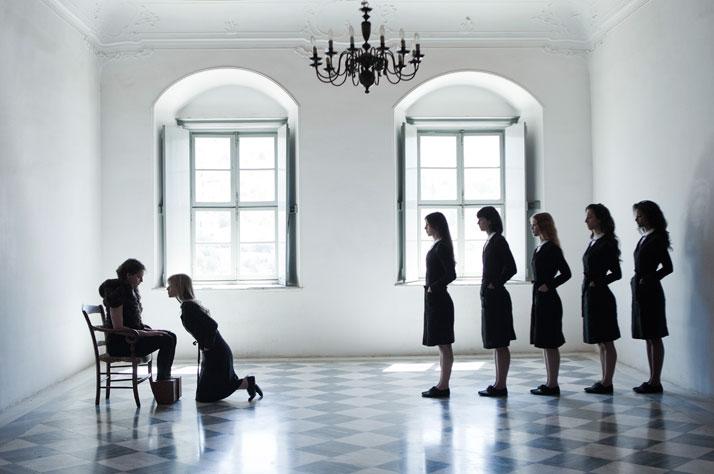 Appearing here (from left): Ariane Labed, Clémence Poésy, Evangelia Randou, Sofia Dona, Isolda Dychauk, Deniz Gamze Ergüven, Aurora Marion. Fash