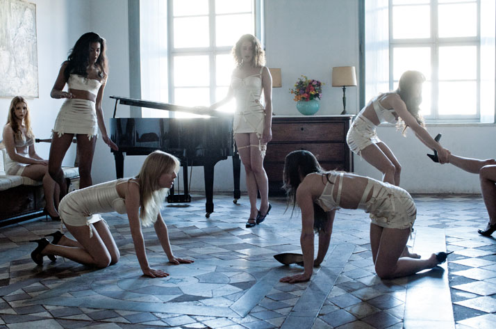 Appearing here (from left): Isolda Dychauk, Aurora Marion, Clémence Poésy, Ariane Labed, Evangelia Randou, Deniz Gamze Ergüven, Sofia Dona .Fashion items: lingerie by Bordelle by Alexandra Popa. Photo © Despina Spyrou.