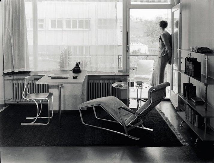 Show  apartment on the Werkbund 'Neubühl' housing project, Zurich, around  1934; chair, desk, chaise longue and shelves, by Marcel Breuer.© Photo Hans Finsler-Staatliche, Galerie MoritzburgHalle, Landeskunstmuseum Saxe-Anhalt, Hans Finsler collection.