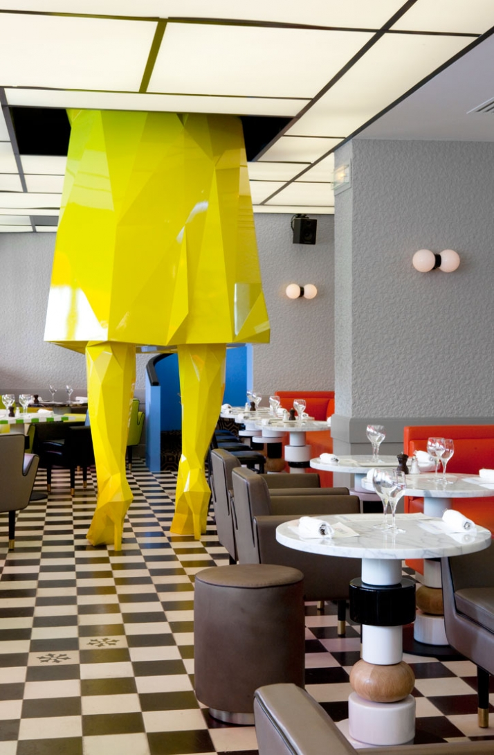 Germain by India Mahdavi in Paris, France. ''Sophie'' sculpture by Xavier Veilhan. Furniture by India Mahdavi. Photo © Derek Hudson.