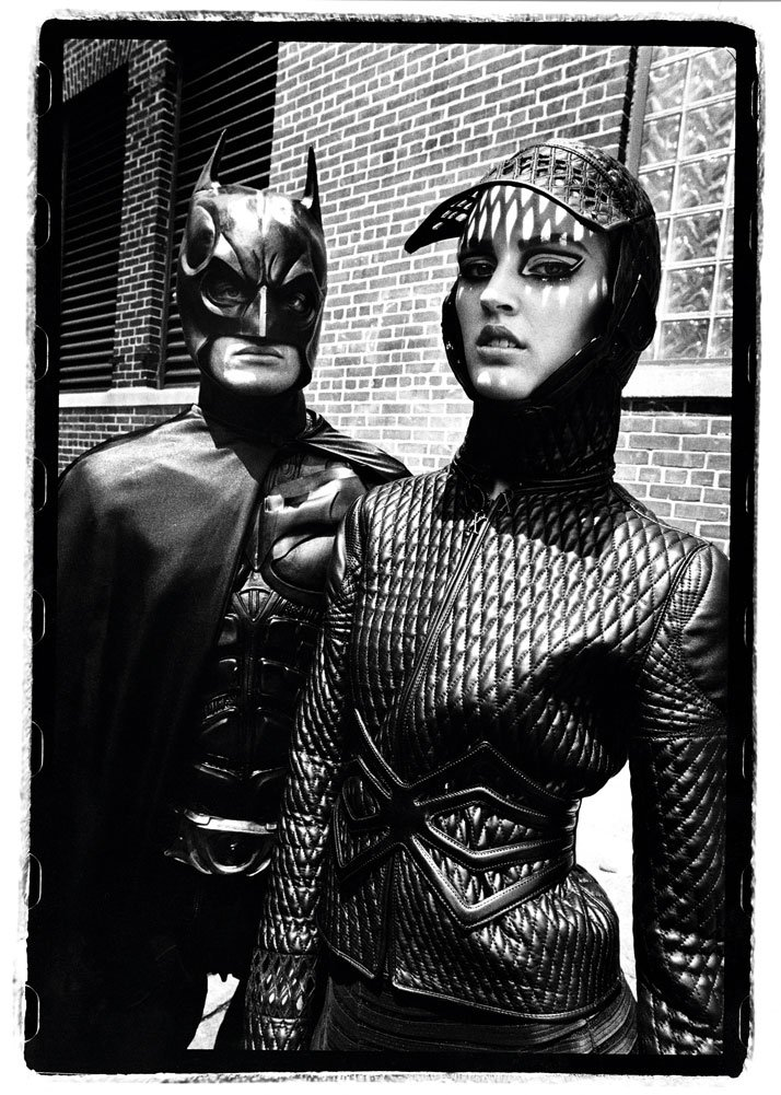 Ali Stephens and Batman, New York City June 2009. French Revue de Modes, Fall 2009, X-Rated collection, Women's prêt-à-porter, fall/winter 2009–2010, photo © Thierry Le Gouès.