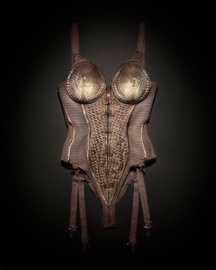 Body corset worn by Madonna during the Blond Ambition World Tour, 1990. Photo © Emil Larsson, Dazed & Confused, April 2008.
