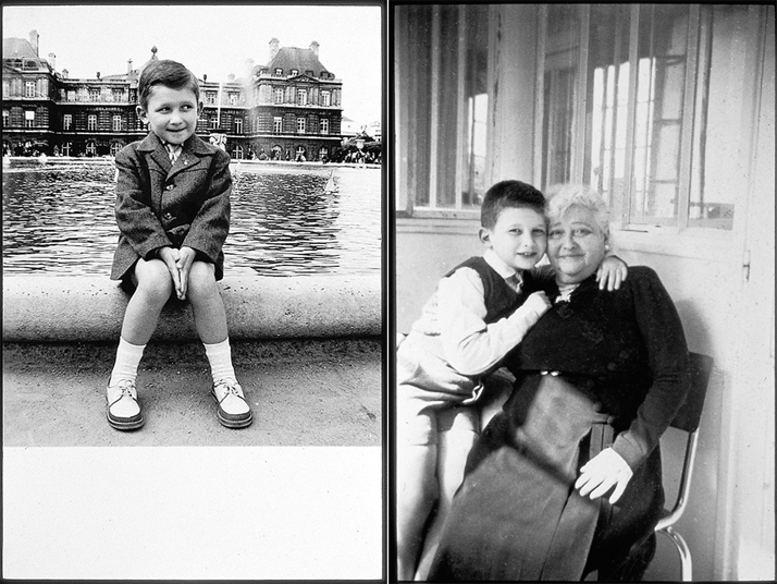left: Jean Paul Gaultier at Jardin du Luxembourg, Paris, about 1957, © Jean Paul Gaultier archives.right: Jean Paul Gaultier with his maternal grandmother, Marie. About 1958. © Jean Paul Gaultier archives.