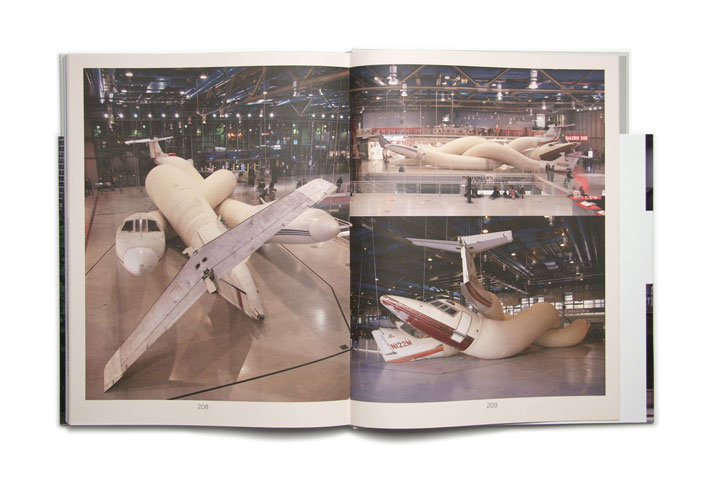 Telle mère tel fils by Adel Abdessemed, 2008 New York (US), Paris (FR)Airplanes, felt, aluminium, metal 4 x 27 x 5 metres Collection of Budi Tek Photo © Cathy Carver.Picture of the project featured inside the OVERS!ZE book © Viction:ary.