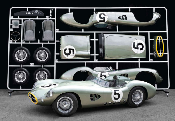 Aston Martin DBR1 'AirFix' by Evanta Motor Company, 2012 Hertfordshire (UK).Fibreglass / kevlar shell / handcrafted aluminium panels over superleggera frame- work, new or fully reconditioned parts, etc. 3.4 x 6.35 metres.Photo © Richard Pardon Photography.