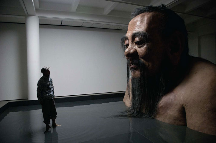 Q Confucius No.2 by Zhang Huan Studio, 2011, Silicone, Steel, Carbon Fibre and Acrylic , 150 x 386 x 260 inches(380 x 980 x 660 cm).photo © Zhang Huan
