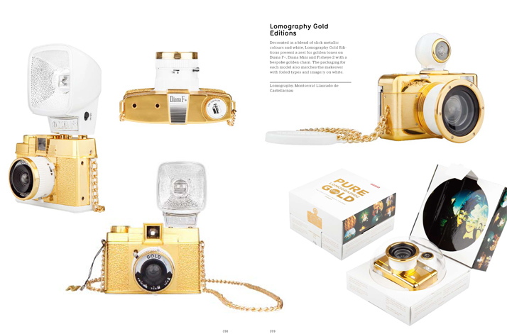 Lomography Gold Editions, Montserrat Llaurado de Castellarnau.Picture of the Gold Editions of Lomography cameras featured inside the GOLD & SILVER book © Viction:ary.