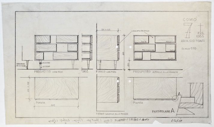 Gio Ponti's sketches for the Cassettone series drawer cabinet, 1956. Courtesy of Gio Ponti Archives.
