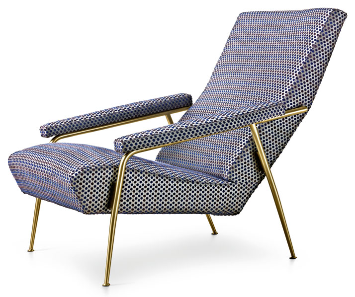 Limited edition Armchair designed by Gio Ponti in 1953 upholstered with Rubelli fabric. Courtesy of Molteni&C.