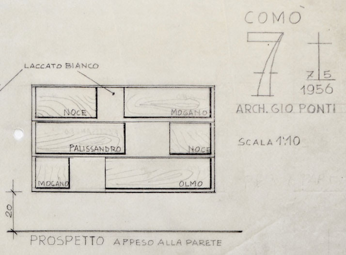 (detail) Gio Ponti's sketch for the Cassettone series drawer cabinet, 1956. Courtesy of Gio Ponti Archives.