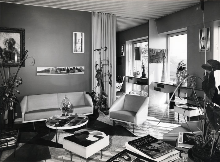Casa via Dezza living room. Courtesy of Gio Ponti Archives.
