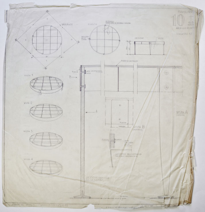 Gio Ponti's original sketches for the Tavolino Series, 1954-55. Courtesy of Gio Ponti Archives.