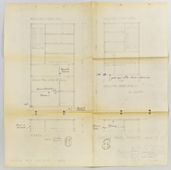 Gio Ponti's sketches for two Bookcases, 1956. Courtesy of Gio Ponti Archives.