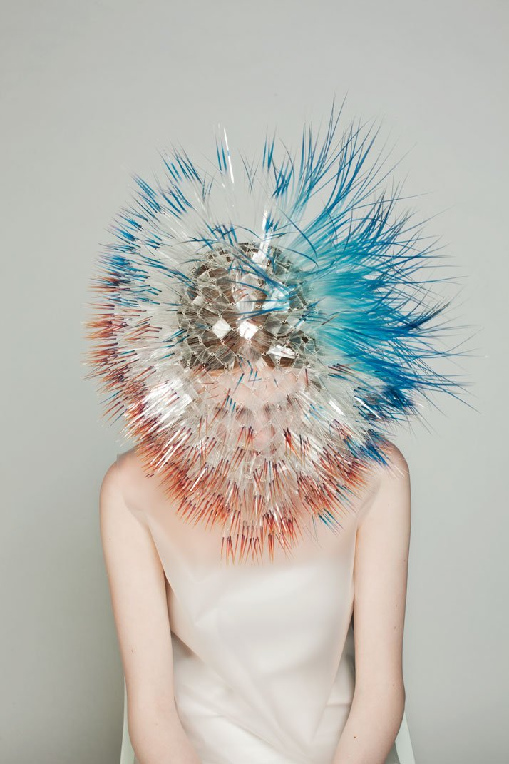 LOOK9: CLEAR FILM, PERSPEX, SILVER Atmospheric Reentry, MA final Collection, © Maiko Takeda, 2013.Art Direction: Samuel John Weeks, Model: Victoria Savory (STORM), Makeup: Carol Morley, Photographer: Bryan Huynh.(Garment collaboration with Louise Bennetts).